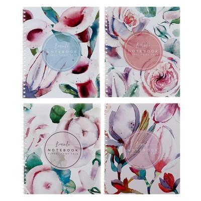 Тетрадь 48 листов в клетку, на гребне «Флора Арт», обложка мелованный картон, выборочный лак, МИКС - Фото 1