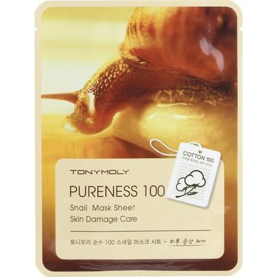 Тканевая маска для лица Tony Moly Pureness 100 Snail Mask Sheet с улиточным муцином, 21 мл