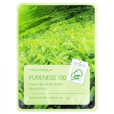 Тканевая маска для лица Tony Moly Pureness 100 Green Tea Mask Sheet с зеленым чаем, 21 мл