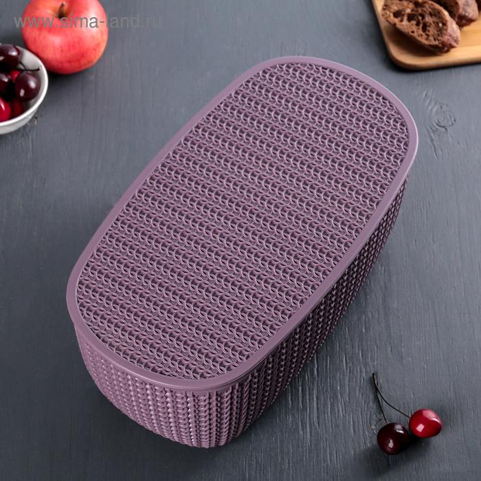 """Хлебница  """"Вязание"""" с разделочной доской, цвет  пурпурный"""