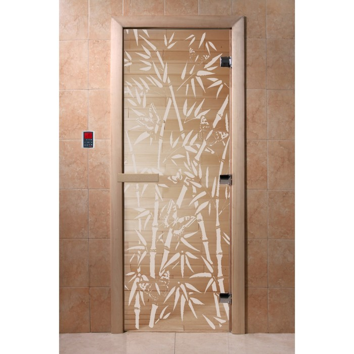 Дверь «Бамбук и бабочки», размер коробки 200 × 80 см, левая, цвет прозрачный
