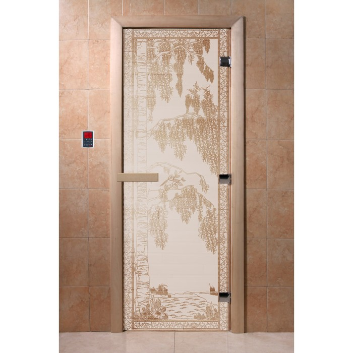 Дверь «Берёзка», размер коробки 200 × 80 см, правая, цвет сатин