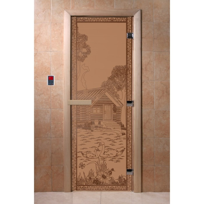 Дверь «Банька в лесу», размер коробки 190 × 70 см, левая, цвет матовая бронза