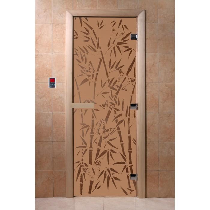 Дверь «Бамбук и бабочки», коробка 190 × 70 см, правая, цвет матовая бронза