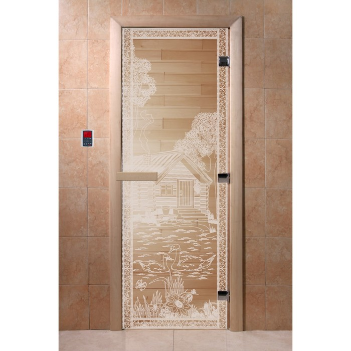 Дверь «Банька в лесу», размер коробки 190 × 70 см, правая, цвет прозрачный
