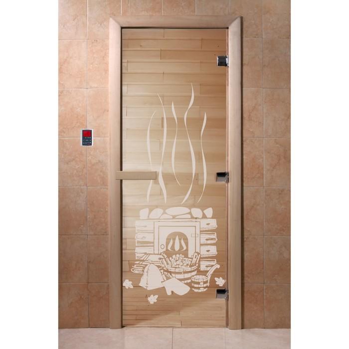 Дверь «Банька», размер коробки 200 × 80 см, правая, цвет прозрачный