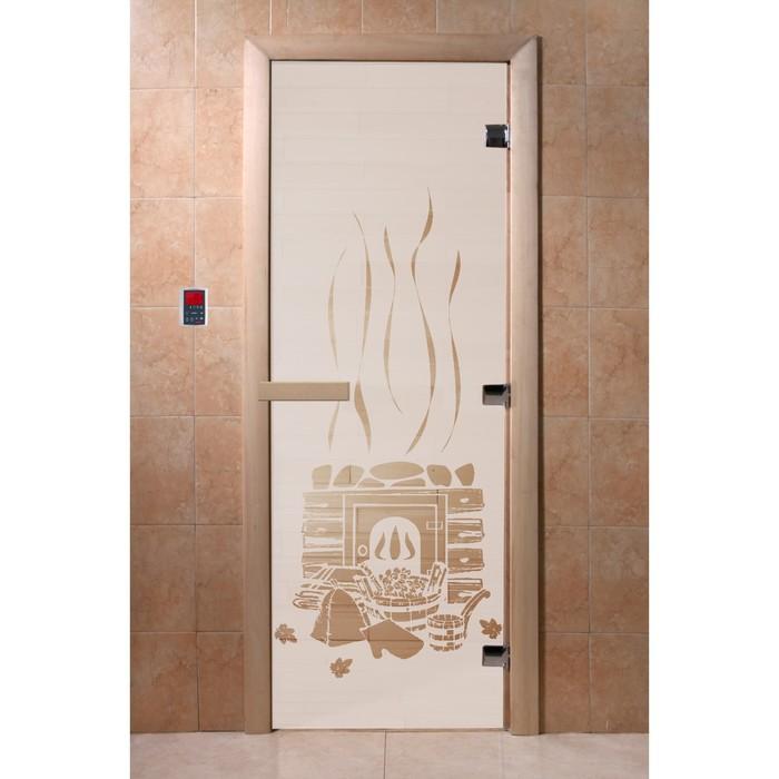 Дверь «Банька», размер коробки 200 × 80 см, левая, цвет сатин