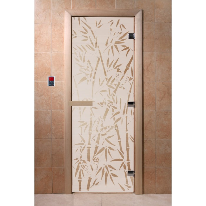 Дверь «Бамбук и бабочки», размер коробки 200 × 80 см, правая, цвет сатин