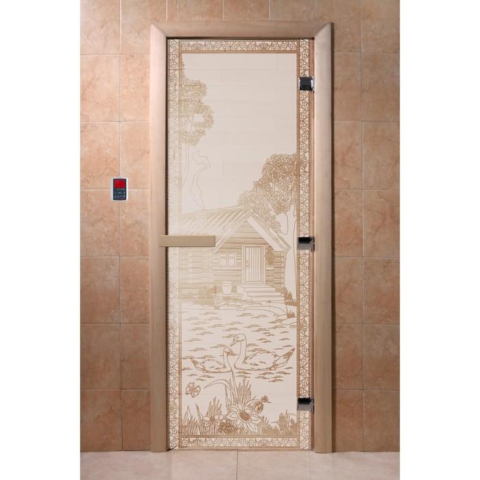 Дверь «Банька в лесу», размер коробки 190 × 70 см, левая, цвет сатин