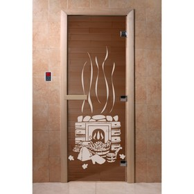 Дверь стеклянная «Банька», размер коробки 190 × 70 см, 8 мм, бронза Ош
