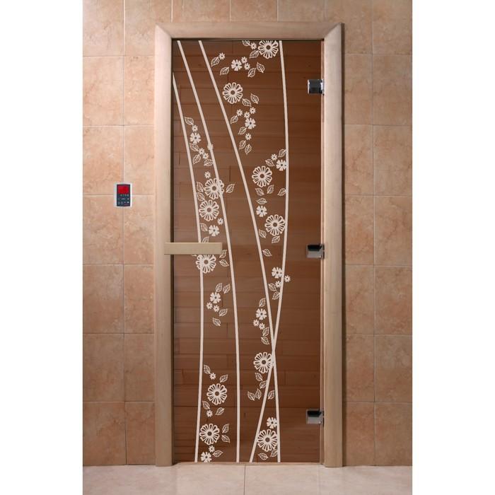 Дверь «Весна цветы», размер коробки 190 × 70 см, правая, цвет бронза