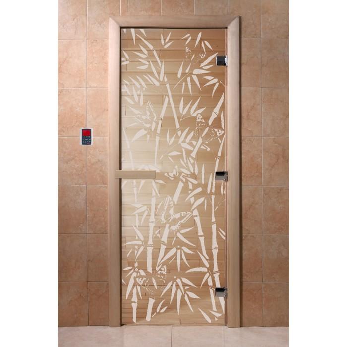 Дверь «Бамбук и бабочки», размер коробки 190 × 70 см, правая, цвет прозрачный