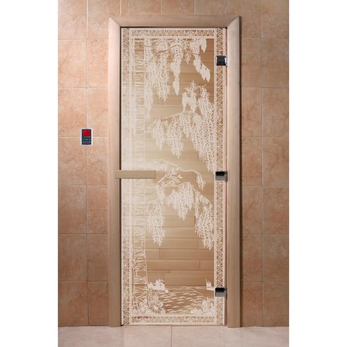 Дверь «Берёзка», размер коробки 200 × 80 см, левая, цвет прозрачный