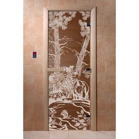 Дверь стеклянная «Мишки», размер коробки 190 × 70 см, 8 мм, бронза, левая Ош