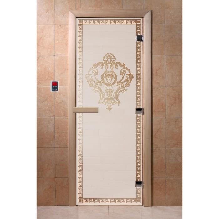 Дверь «Версаче», размер коробки 200 × 80 см, левая, цвет сатин
