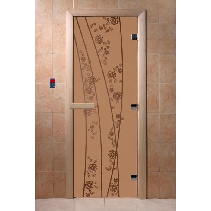 Дверь «Весна цветы», размер коробки 190 × 70 см, левая, цвет матовая бронза
