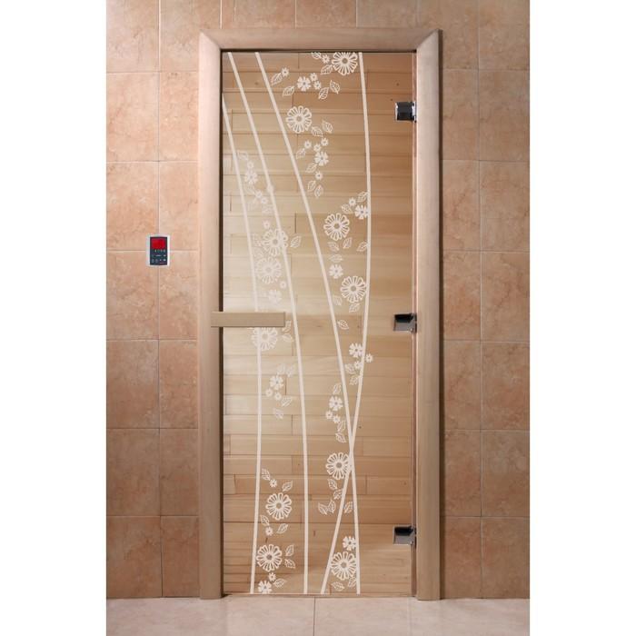 Дверь «Весна цветы», размер коробки 190 × 70 см, левая, цвет прозрачный