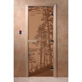 Дверь «Рассвет», размер коробки 190 × 70 см, левая, цвет матовая бронза Ош
