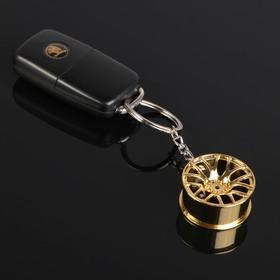 Брелок для ключей, диск, металл, золото Ош