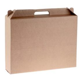 Коробка универсальная с ручкой, бурая, 34,5 х 8 х 27 см