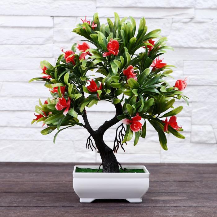 """Бонсай """"Деревце с тонкими листьями и цветами"""" 10*24 см микс"""