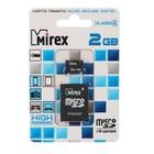 Карта памяти Mirex microSD, 2 Гб, класс 4, с адаптером SD
