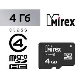Карта памяти Mirex microSD, 4 Гб, SDHC, класс 4 Ош