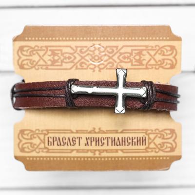 Браслет церковный «Крест литой» (коричневый), 2,2 х 17,5 см