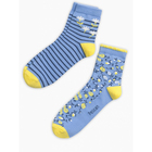 Носки для девочки (2 пары), длина стопы 12-14 см, цвет жёлтый/голубой