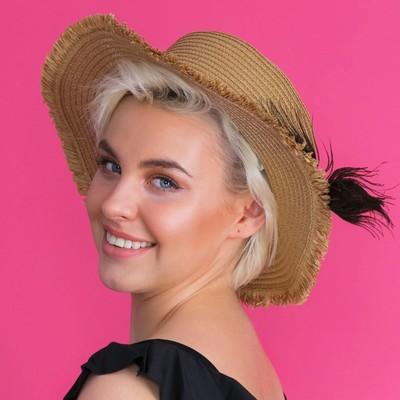 Шляпа пляжная женская MINAKU «Перо павлина», размер 56, цвет коричневый