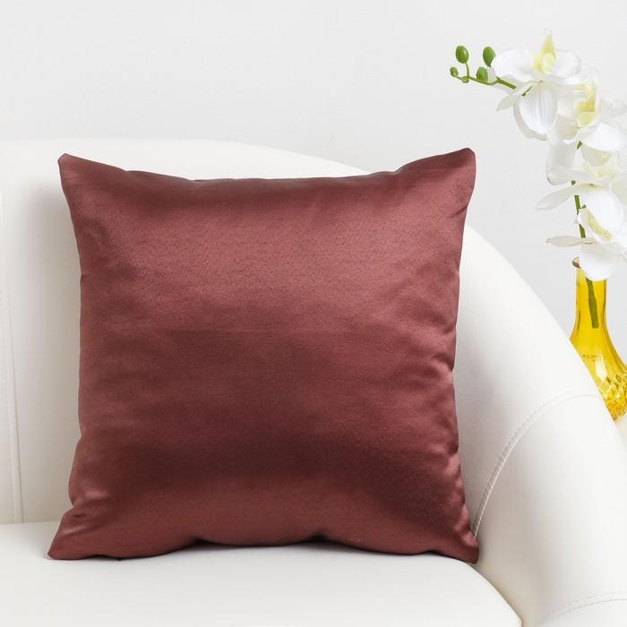 Декоративная подушка «Этель» 40×40 см Дамаск CHOCOLATE SOLID, 100% п/э