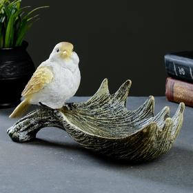 Подставка под мелочи 'Лосиный рог с птичкой' акрил 28х15х14см Ош