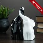 """Фигура """"Пара слонов"""" черный + белый глянец 7х12х16см - Фото 1"""