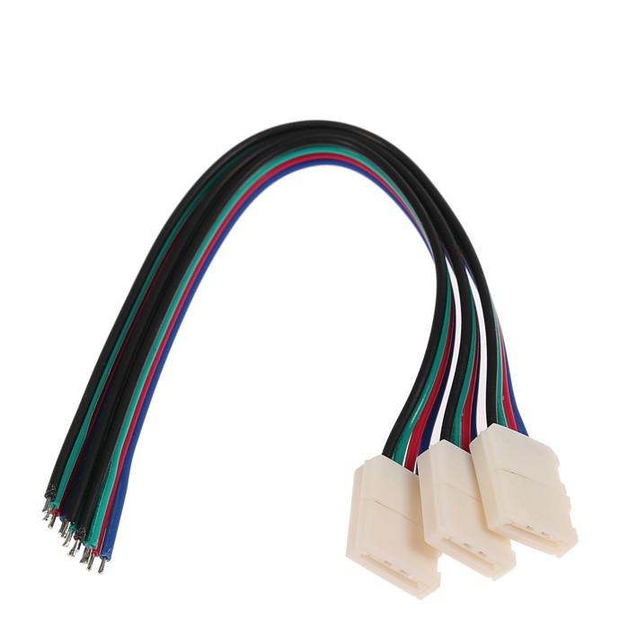 Соед кабель Ecola LED, с одним 4-х конт,разъемами, 10 мм, 15 см уп 3 шт