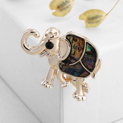 """Брошь """"Галиотис"""" слон, индийский, в розовом золоте"""