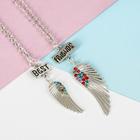 """Кулон на отрывной карточке """"Неразлучники"""" для сестёр, крылья, цветной в серебре, 45 см"""