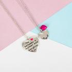 """Кулон на отрывной карточке """"Неразлучники"""" мама и дочка, цвет розовый в серебре, 45 см"""