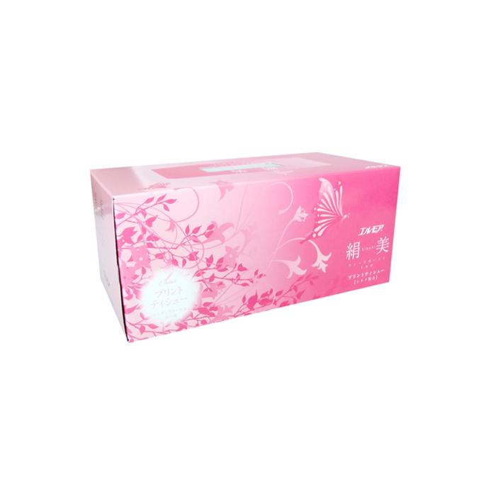Бумажные салфетки с шелком Kami Shodji Ellemoi Kinu-bi розовые, 2 слоя, упаковка 200 шт.