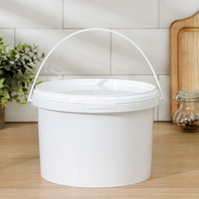 Ведро с герметичной крышкой с замком, 3 л, цвет белый - Фото 1