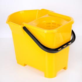 Ведро со сливом и отжимом для швабры МОП, цвет жёлтый Ош