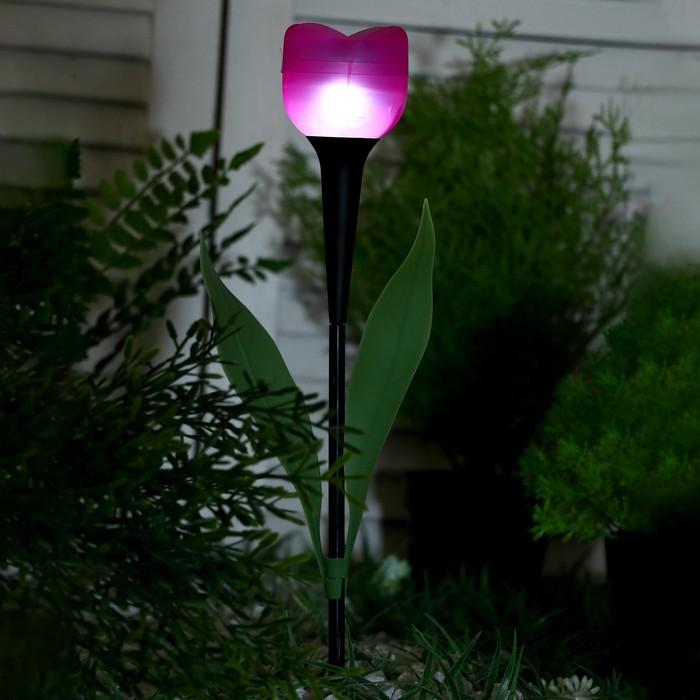 """Фонарь садовый на солнечной батарее """"Тюльпан"""" 47 см, d-6 см, 1 led, пластик"""