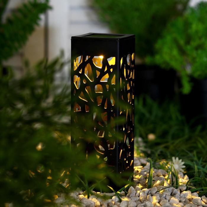 """Фонарь садовый на солнечной батарее """"Ажурная резьба"""", 6 х 29 х 6 см, 1 led, пластик, Т.БЕЛЫЙ"""