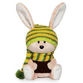 Мягкая игрушка «Заяц Антоша» в шапочке и свитере, 15 см