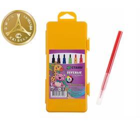 Фломастеры 6 цветов «Весёлые игрушки», толщина линии письма 1 мм, длина до 400 м, жёлтый пластиковый пенал с европодвесом Ош