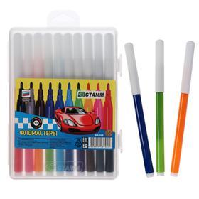 """Фломастеры 10 цветов """"Автомобили"""", толщина линии письма 1 мм, длина до 400 м, красный пластиковый пенал с европодвесом, МИКС"""