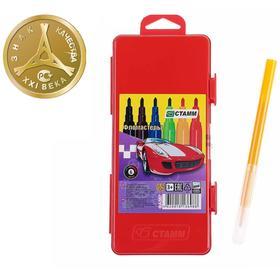 Фломастеры 6 цветов «Автомобили», толщина линии письма 1 мм, длина до 400 м, красный пластиковый пенал с европодвесом