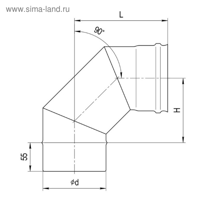 Колено Феррум угол 90°, нержавеющее 430/0.5 мм, d 200 мм