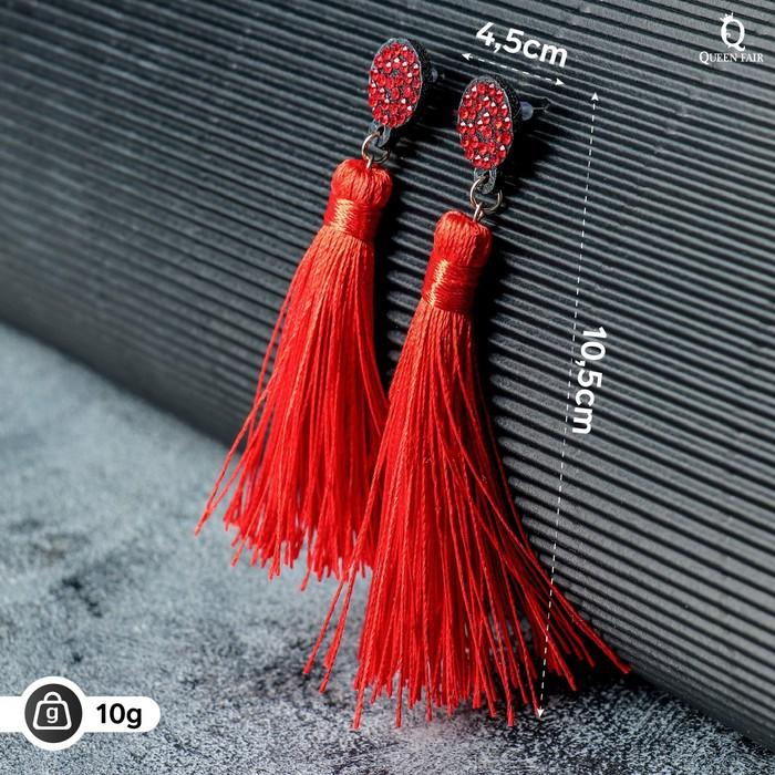 Серьги Кисти гармония, цвет красный, L кисти 8,5 см