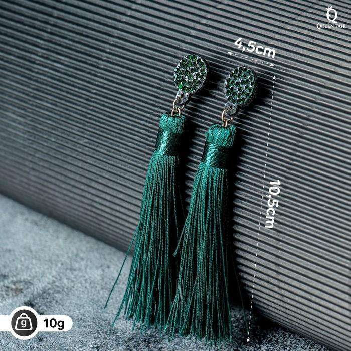Серьги Кисти гармония, цвет изумрудный, L кисти 8,5 см