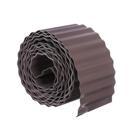 Лента бордюрная, 0.1 × 9 м, толщина 0,6 мм, пластиковая, гофра, тёмно-коричневая Ош